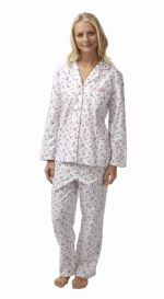 Ladies 100% Cotton Wincey Pyjamas Floral Pink on White 8 - 26